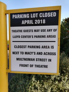 Sign announcing the closure of the Lloyd Center parking lot in April 2018